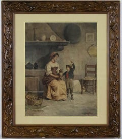 Antique Italian Watercolor Painting by Achille Buzzi Circa 1875