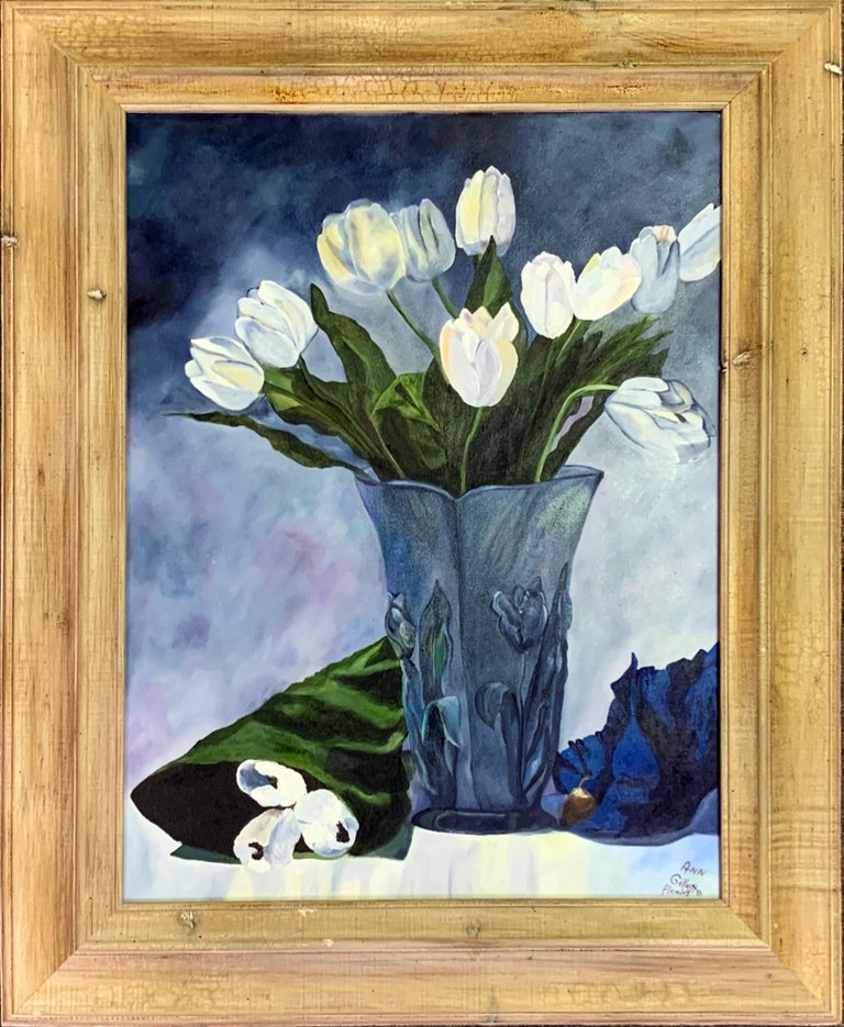 """Floral Still Life Oil Painting by Nashville, Tennessee artist Ann Fleming Entitled """"White Tulips in Blue Vase""""  Gorgeous still life depicting tulip flowers immersed in a room of blue  Signed by the artist in the lower right of canvas  Beautiful"""