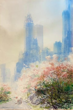 "ORIGINAL WATERCOLOR BY BOGOMIR BOGDANOVIC ""CENTRAL PARK IN SPRING"""