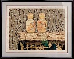 "P.S. GORDON Satsuma Vases SIGNED 29.75"" x 37.5"" Serigraph 1992 Realism SilkScree"