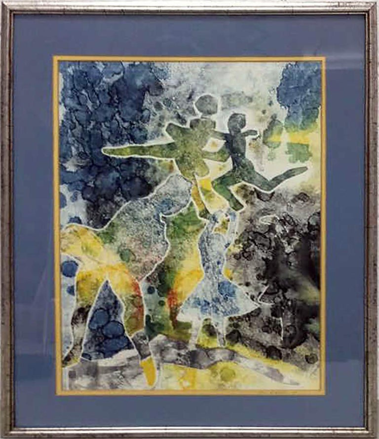 Watercolor Painting by Joseph Weiss BALLET DANCERS For Sale 1