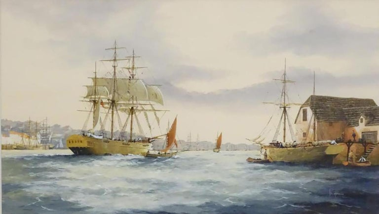Ken Hammond, XX, Marine School, Watercolor, An estuary scene with clipper ships, sailing boats, rowing boats, and figures, with a town beyond. Signed lower right.