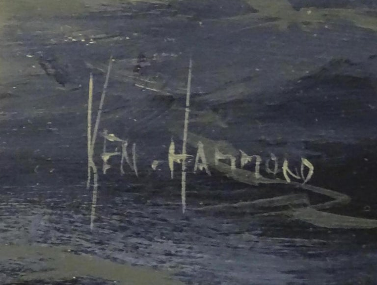 Ken Hammond, XX, Marine School, Watercolor, An Estuary Scene with Clipper Ships For Sale 1
