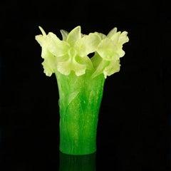 Daum Pate de Verre Green Iris Vase