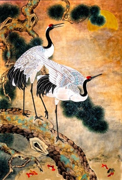 2 Cranes in a Tree and Koi