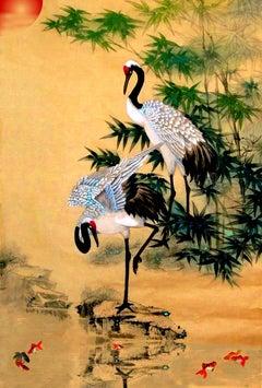 Cranes by a Koi Pond