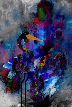 Purple Sky and Crane