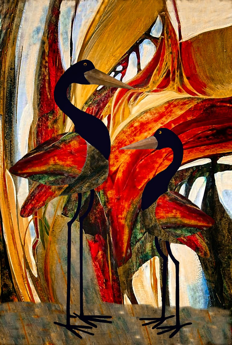 Clay Harris Abstract Painting - Wise Birds in the Bush