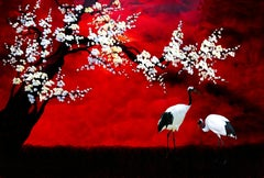 Cranes Under Blooming Tree