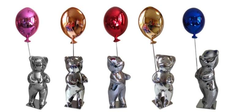 Cévé, Bubbly Red - Silver Figurative Sculpture by Cévé