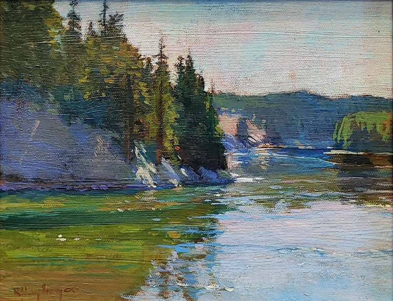 Bend in the River, Yellowstone - Painting by Richard Humphrey