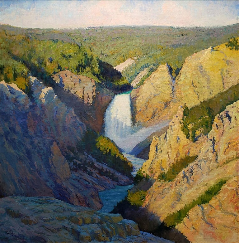 Morning Light on the Lower Falls, Yellowstone - Painting by Richard Humphrey