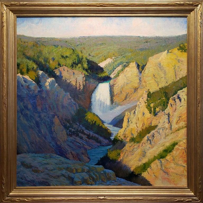 Richard Humphrey Landscape Painting - Morning Light on the Lower Falls, Yellowstone
