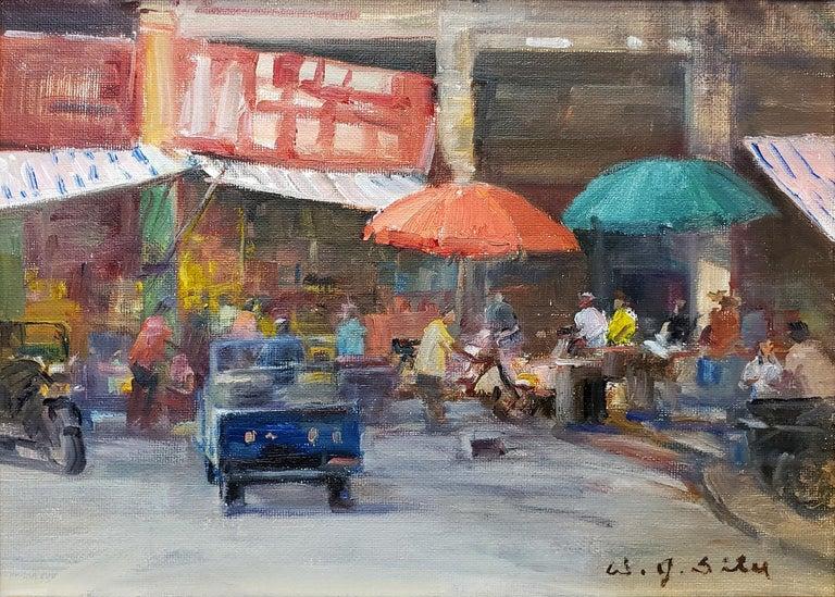Marketplace - Realist Painting by W. Jason Situ