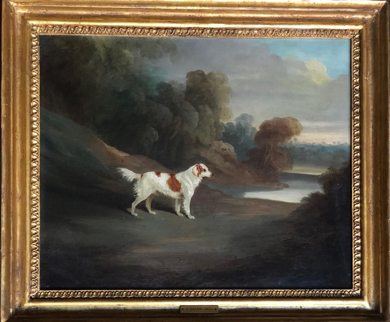 A Spaniel in a Landscape (signed and dated 1831) - Painting by David Dalby
