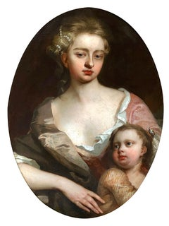 Fine Early 18th Century Portrait of a Lady and Child.