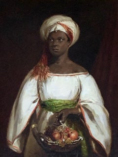 Oil on Board Portrait of a Moorish Lady in a White Robe with Fruit