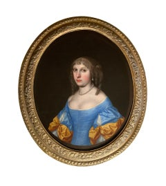 17th Century Portrait of a Lady in a Blue and Yellow Dress with Pearl Jewellery