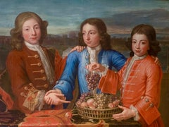 18th Century British Portrait of Three Boys in Red and Blue Silk Jackets.