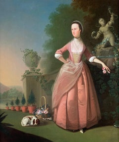 18th Century English Lady with her Dog in a Flower Garden, Wearing a Pink Dress