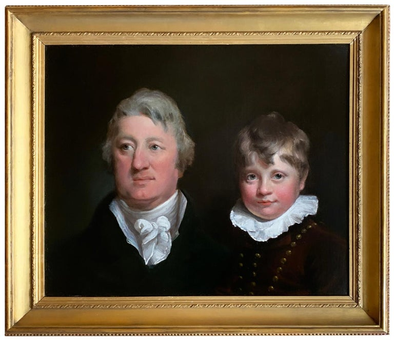 Early 19th Century English Oil Portrait Painting of a Gentleman and a Young Boy. - Black Figurative Painting by Joseph Clover