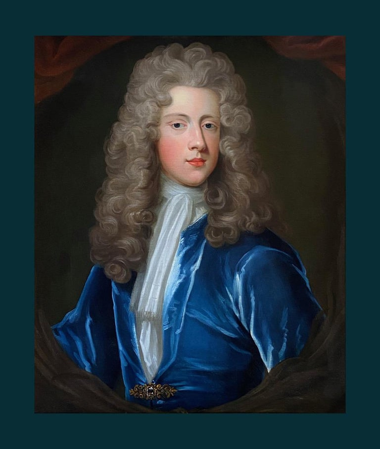 18TH CENTURY ENGLISH OIL PORTRAIT OF A YOUNG GENTLEMAN IN A BLUE VELVET COAT - Black Interior Painting by Attributed to Charles D'Agar