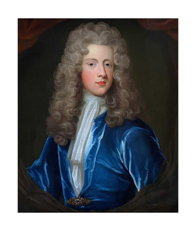 18TH CENTURY ENGLISH OIL PORTRAIT OF A YOUNG GENTLEMAN IN A BLUE VELVET COAT - Painting by Attributed to Charles D'Agar