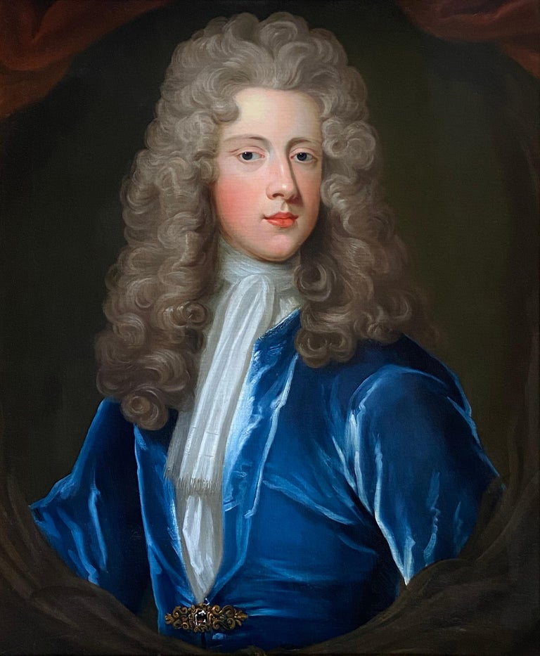 Attributed to Charles D'Agar  Interior Painting - 18TH CENTURY ENGLISH OIL PORTRAIT OF A YOUNG GENTLEMAN IN A BLUE VELVET COAT