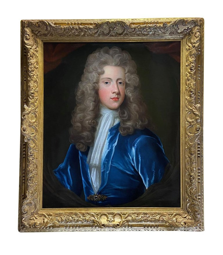 18TH CENTURY ENGLISH OIL PORTRAIT OF A YOUNG GENTLEMAN IN A BLUE VELVET COAT - Old Masters Painting by Attributed to Charles D'Agar
