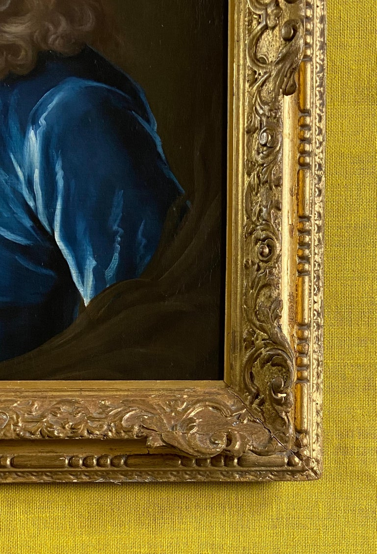 18TH CENTURY ENGLISH OIL PORTRAIT OF A YOUNG GENTLEMAN IN A BLUE VELVET COAT For Sale 6