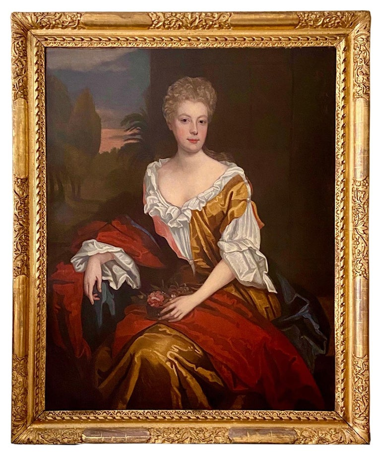 Follower of Willian Wissing Portrait Painting - LATE 17TH CENTURY ENGLISH PORTRAIT - A LADY  IN A RED / YELLOW SILK DRESS c.1700