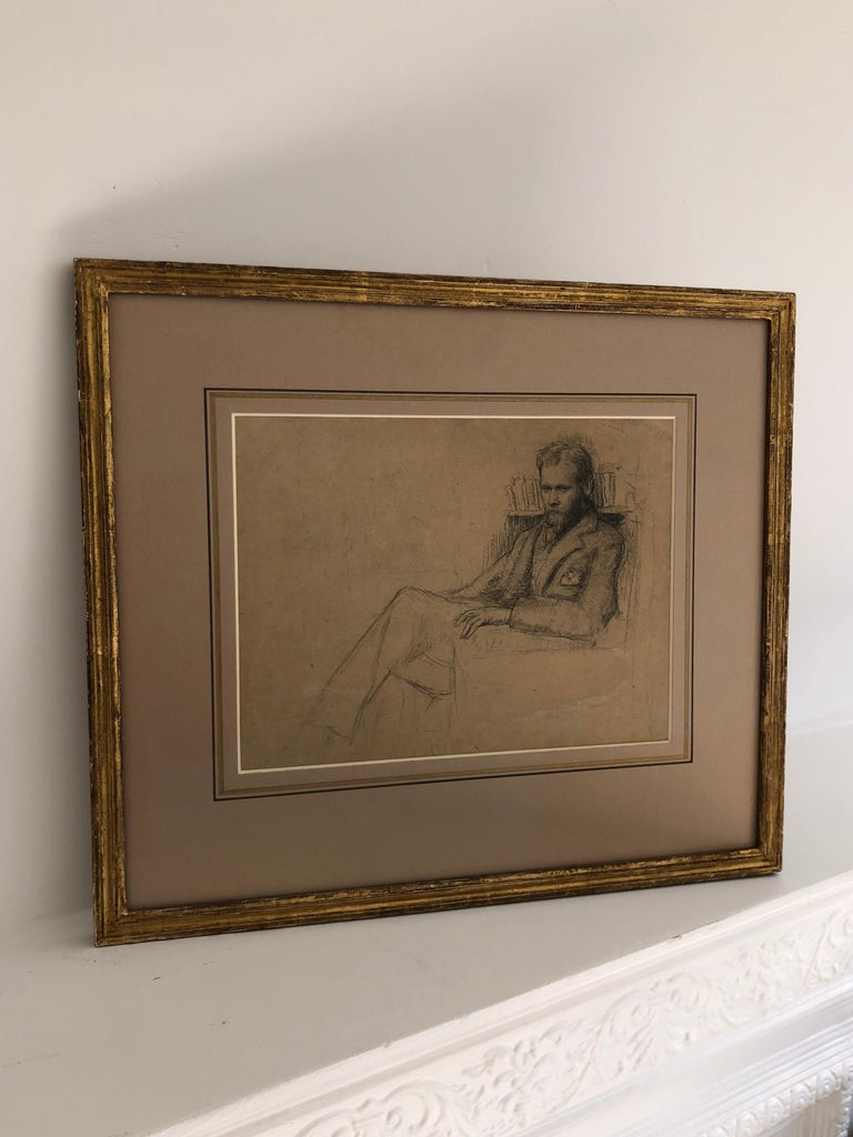 Early 20th Century Drawing a Study of Edward Nettleship by Augustus John RA. For Sale 4