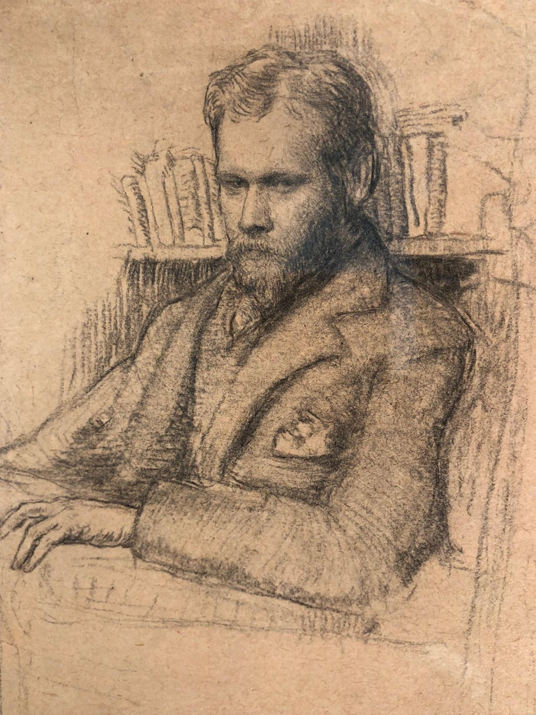 Study of Edward Nettleship, pencil on paper. This drawing was done shortly after Augustus John left the Slade (1894-1898) as is done with a strong Slade influence, with intimately drawn short strokes.  EDWARD NETTLESHIP Edward was Ida's uncle and