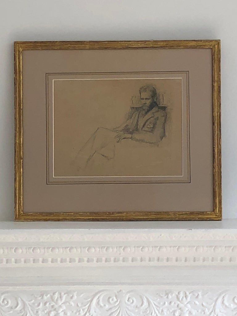 Early 20th Century Drawing a Study of Edward Nettleship by Augustus John RA. For Sale 6