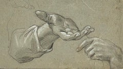 18th Century French Drawing A Study of Two Hands by Charles Parrocel