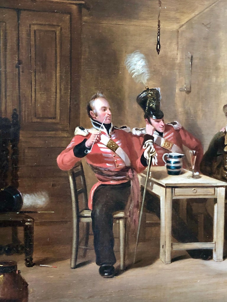 The Recruit /Taking the Kings Shilling - Brown Interior Painting by Henry Liverseege