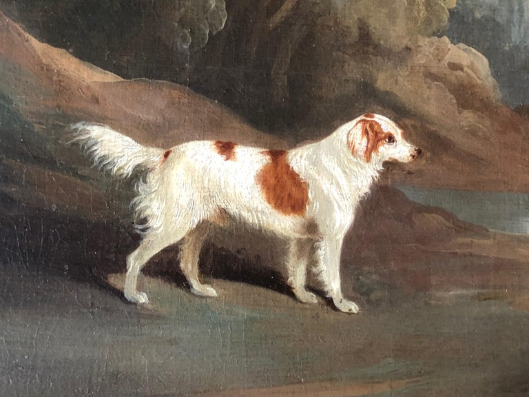 A Spaniel in a Landscape (signed and dated 1831) - Black Animal Painting by David Dalby