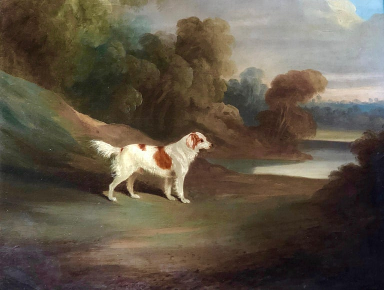 David Dalby Animal Painting - A Spaniel in a Landscape (signed and dated 1831)