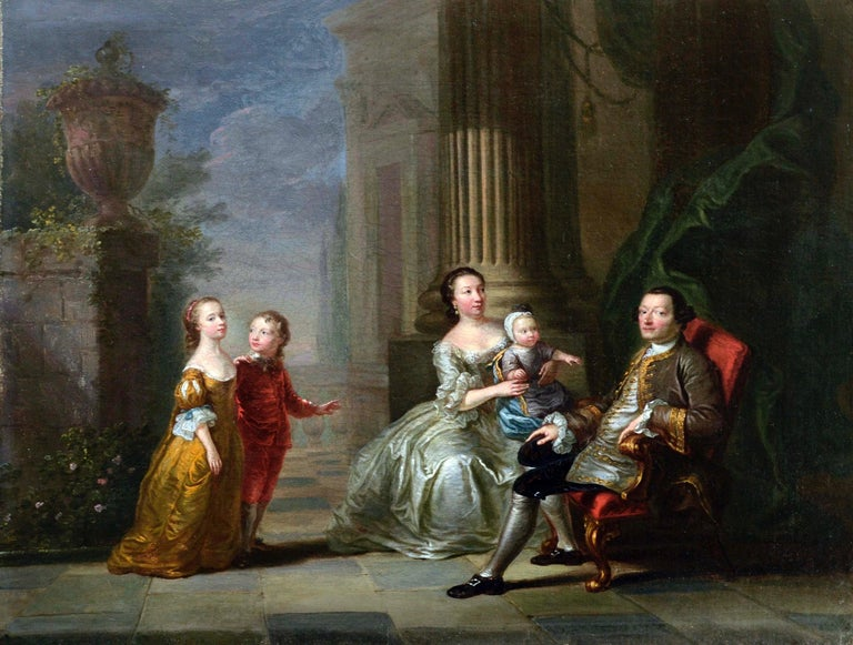 18th Century British Conversation Piece - Attributed to John Giles Eccardt - Painting by John Giles Eccardt