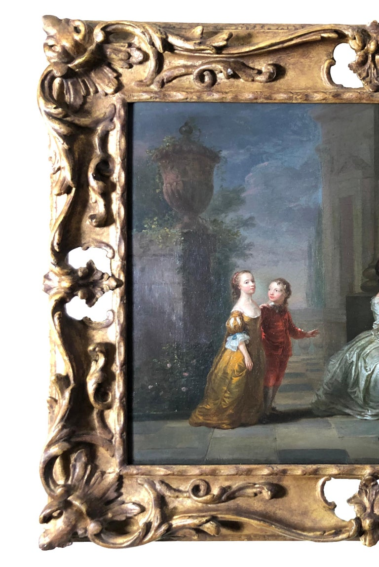 The stage is set for  this  charming, diminutive and high quality 18th century portrait of a family on a terrace from an artist in the circle of Joseph Highmore (1692-1780) This sensitively rendered survivor from an age of elegance, is in fact a