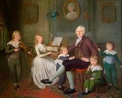 18th Century English Oil Painting of a Family and Children ' The Music Room""