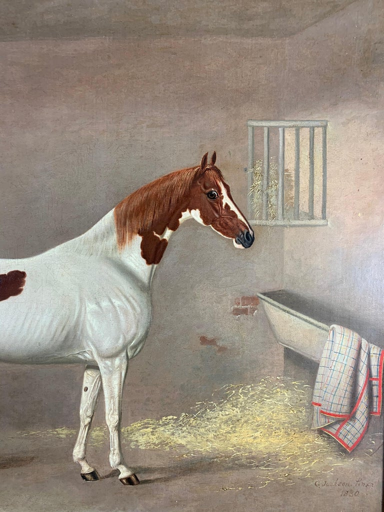 A Skewbald Pony in a Stable by G. Jackson For Sale 4