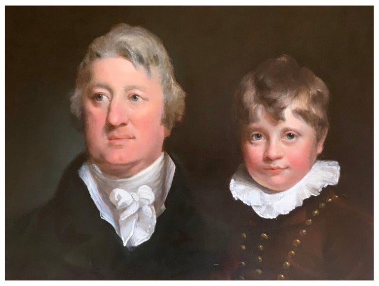 This double portrait of a father and son attributed to Joseph Clover ( 1779-1853) is a rare and beautiful example of British portraiture of the turn of the eighteenth to nineteenth centuries. Dating to around 1800, its rarity lies in the extremely