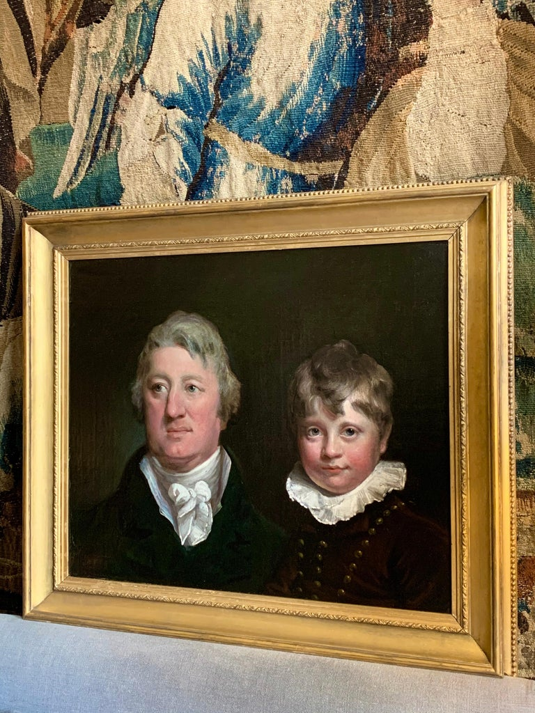 Early 19th Century English Oil Portrait Painting of a Gentleman and a Young Boy. 6