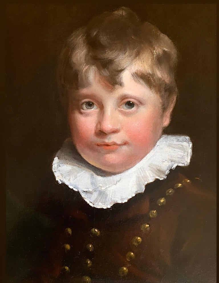 Early 19th Century English Oil Portrait Painting of a Gentleman and a Young Boy. 1