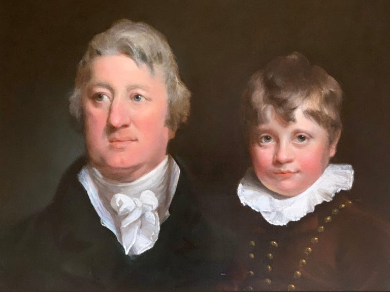 Early 19th Century English Oil Portrait Painting of a Gentleman and a Young Boy. 3