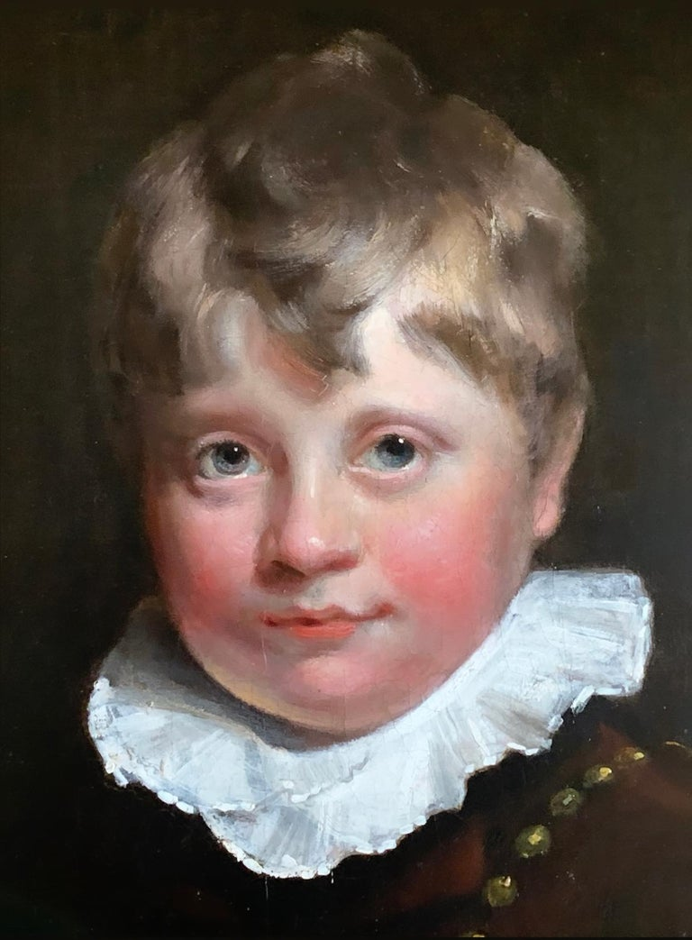 Early 19th Century English Oil Portrait Painting of a Gentleman and a Young Boy. 5