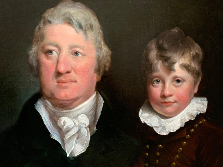 Joseph Clover  Figurative Painting - Early 19th Century English Oil Portrait Painting of a Gentleman and a Young Boy.