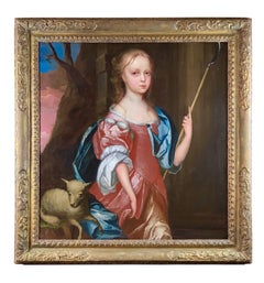 17th Century English Oil Portrait of a Young Girl as a Shepherdess