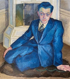 ART DECO OIL ON CANVAS OF A HANDSOME GENTLEMAN  WEARING  A BLUE SUIT.